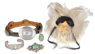 VINTAGE STERLING JEWELRY AND MASK