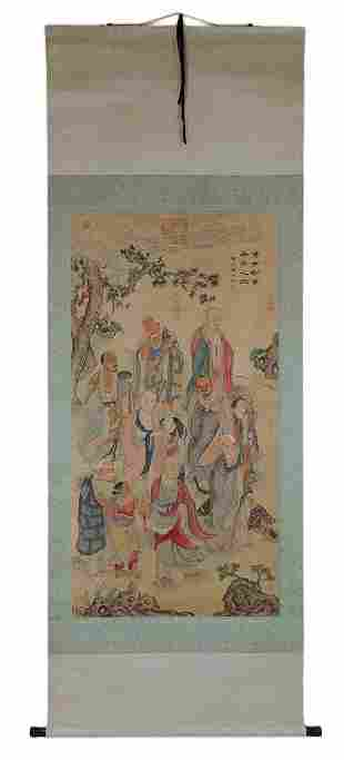 AN ANTIQUE CHINESE PAINTED SCROLL