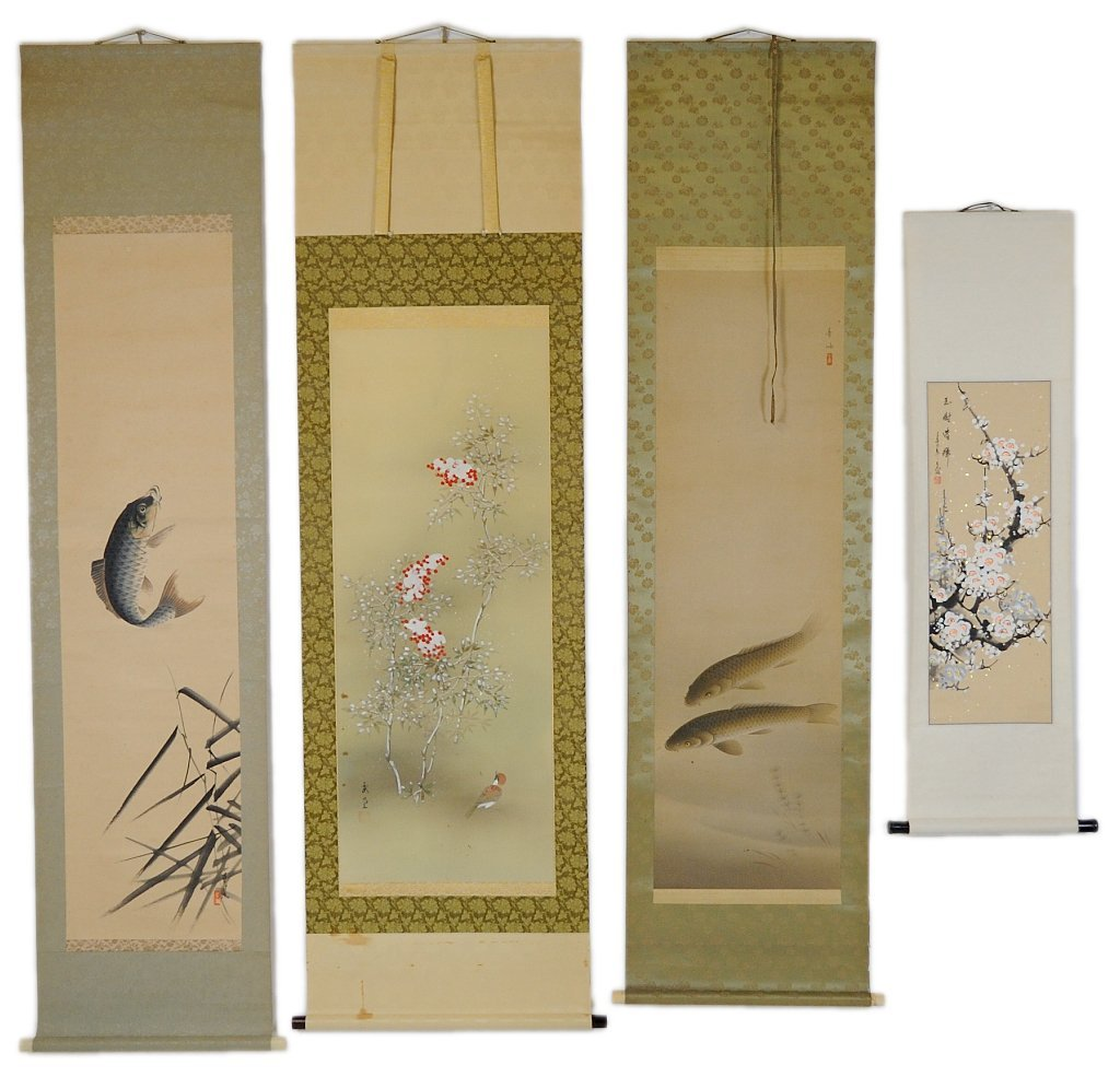 21: FOUR ORIENTAL PAINTED SCROLLS OF NATURE