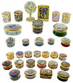 7: 31 SMALL ENGLISH ENAMEL PAINTED BOXES