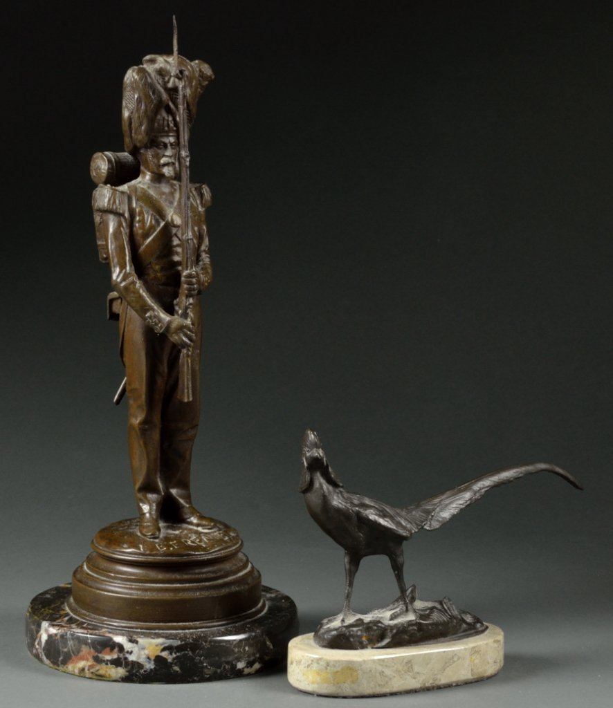 11: TWO FRENCH PATINATED BRONZE SCULPTURES