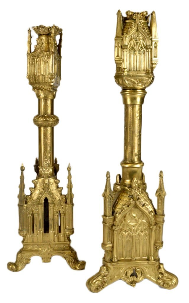 12: TWO GOTHIC STYLE CATHEDRAL CANDLESTICKS