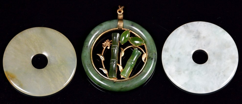 23: THREE CHINESE CARVED JADE ORNAMENTS