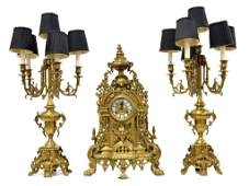 41 A LOUIS XV GILT BRONZE GARNITURE SET