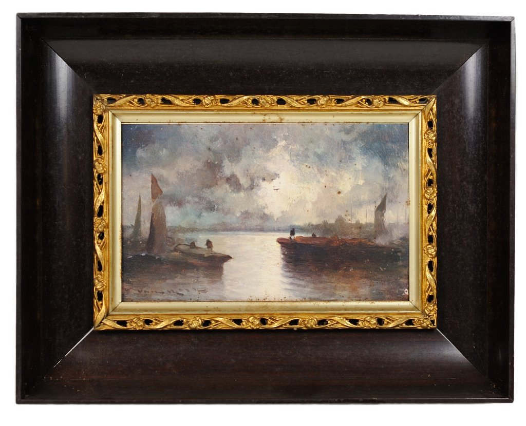 1: ANTIQUE PORCELAIN PLAQUE FRAME