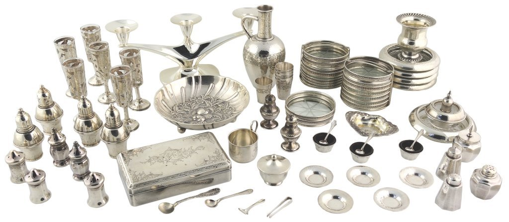 8: 67 PIECES OF STERLING SILVER TABLE ITEMS Various mak