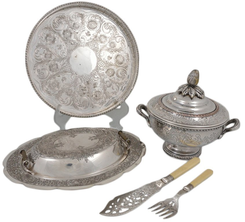 11: FOUR SHEFFIELD SILVERPLATE SERVING PIECES
