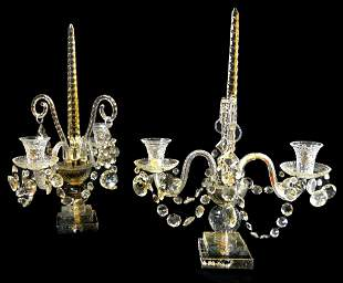 A PAIR OF CUT CRYSTAL TWO-LIGHT CANDELABRA