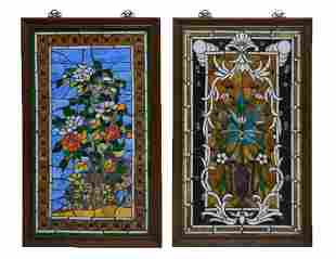 TWO CABACHON STUDDED STAIN GLASS PANELS