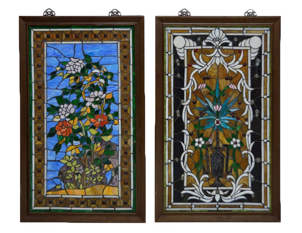 15: TWO CABACHON STUDDED STAIN GLASS PANELS
