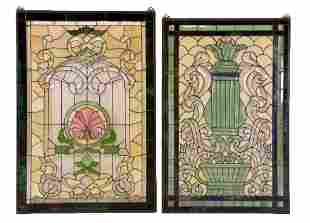 TWO HAND CRAFTED STAINED GLASS