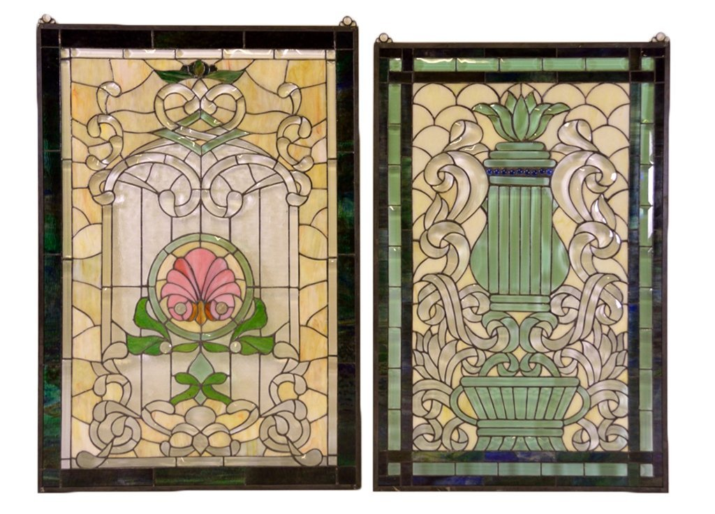 16: TWO HAND CRAFTED STAINED GLASS