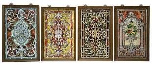 FOUR LEADED STAINED GLASS PANELS