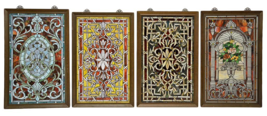 18: FOUR LEADED STAINED GLASS PANELS