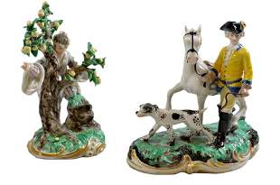 TWO FRANKENTHAL GILDED AND DECORATED PORCELAIN FIGU