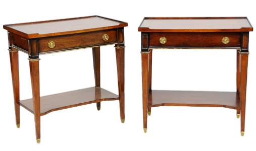 166: TWO HICKORY WHITE SOLID CHERRY SIDE TABLES