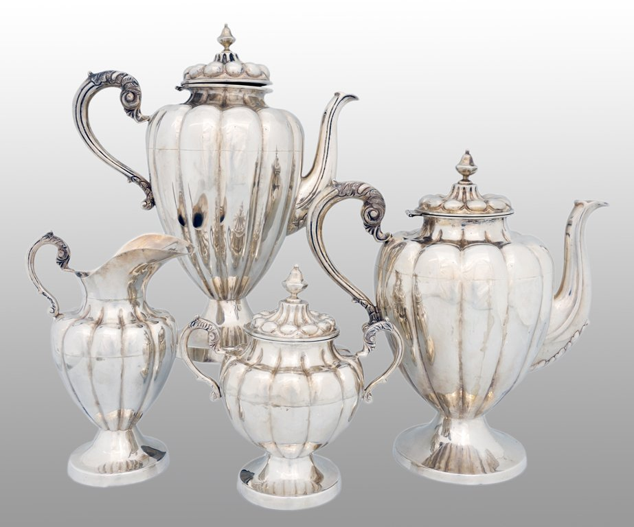 2: A GEORGE IV .925 STERLING TEA SET Early 20th Century