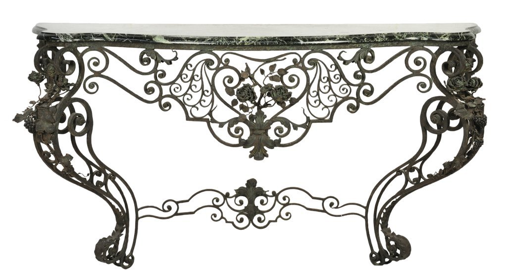 13: A FINE LOUIS XV STYLE WROUGHT IRON AND MARBLE CONSO