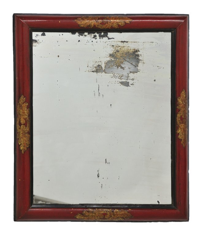 14: A FRENCH RED LACQUER BOLECTION MOULD FRAMED MIRROR