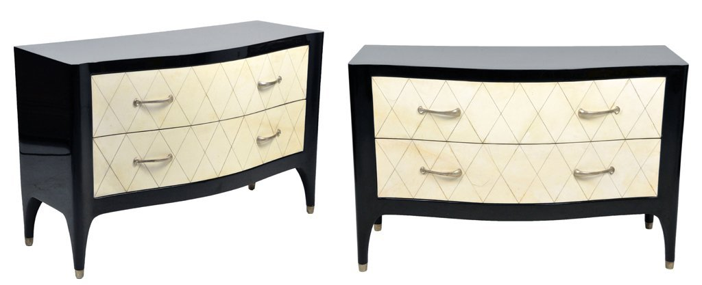 18: A PAIR OF JEAN MICHEL FRANK STYLE COMMODES 20th Cen