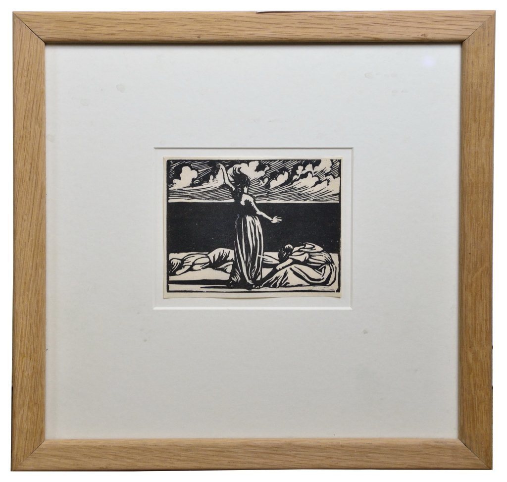 """1: SIR PATRICK SPENS, """"WOMEN AND CLOUDS"""", Woodcut on pa"""