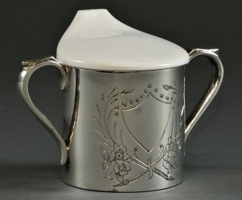 3: AN AMERICAN SILVERPLATED BABY CUP