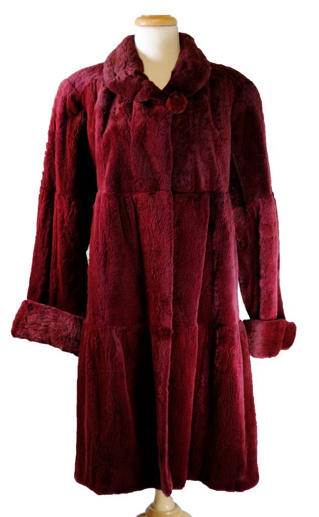 13: LUXURIOUS CRANBERRY RED SHEARED BEAVER COAT