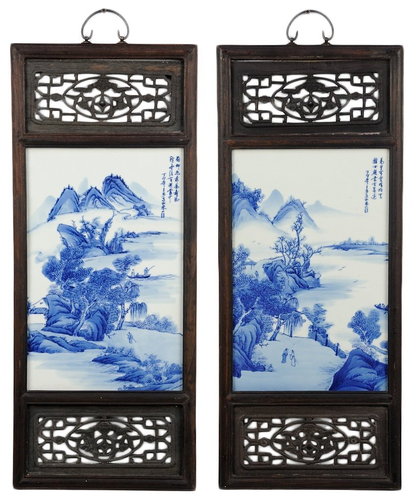 19: TWO CHINESE BLUE AND WHITE PORCELAIN PLAQUES