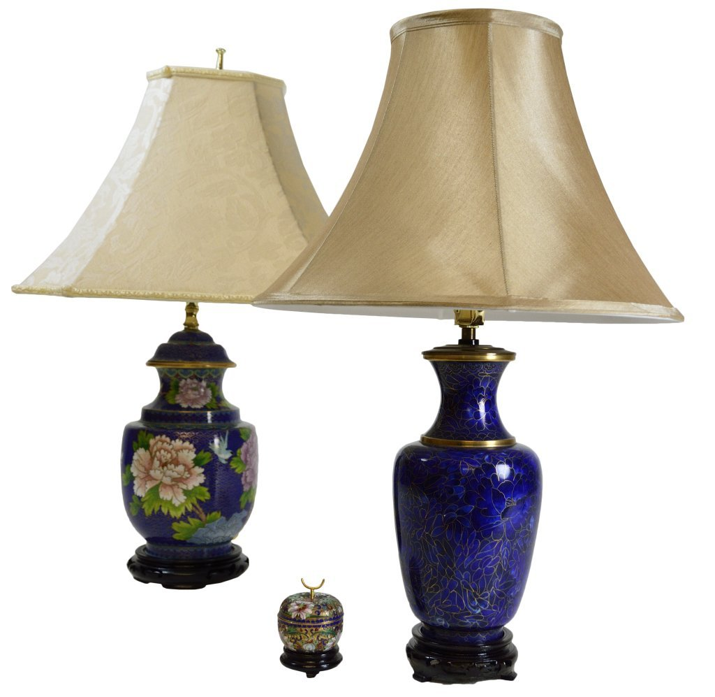 22: TWO CHINESE CLOISONNÉ LAMPS AND A BOX