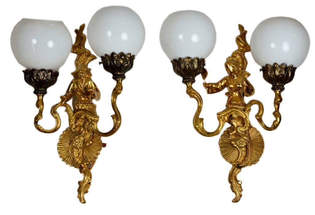 1: PAIR OF GILT BRONZE SCONCES
