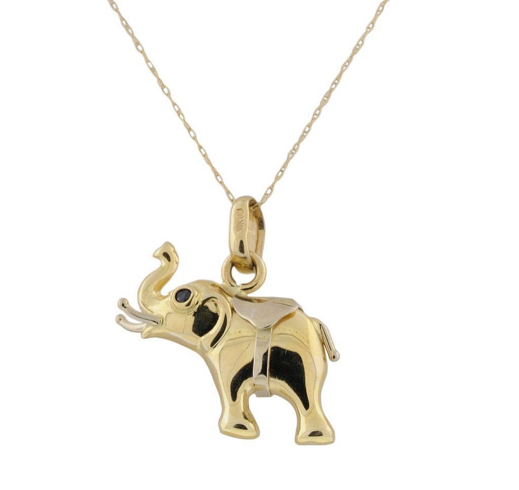 "11: 14KT GOLD ""GOP"" ELEPHANT WITH SAPPHIRE EYES"