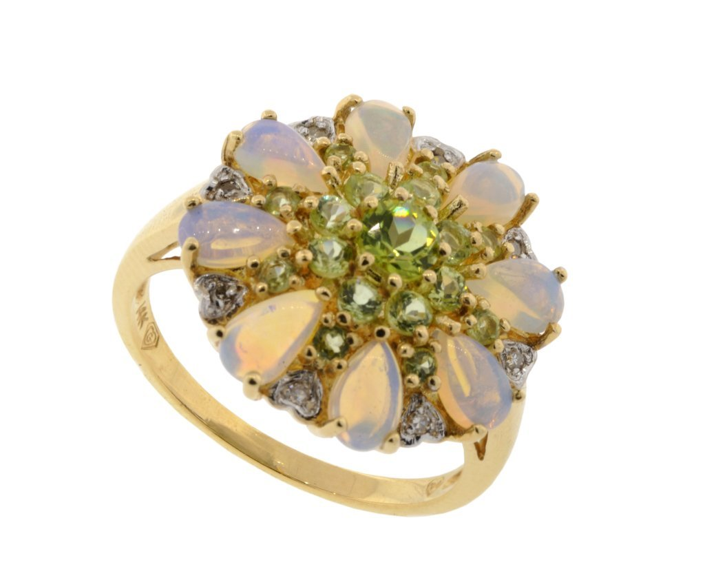 12: MINTABIE JELLY OPAL AND PERIDOT RING