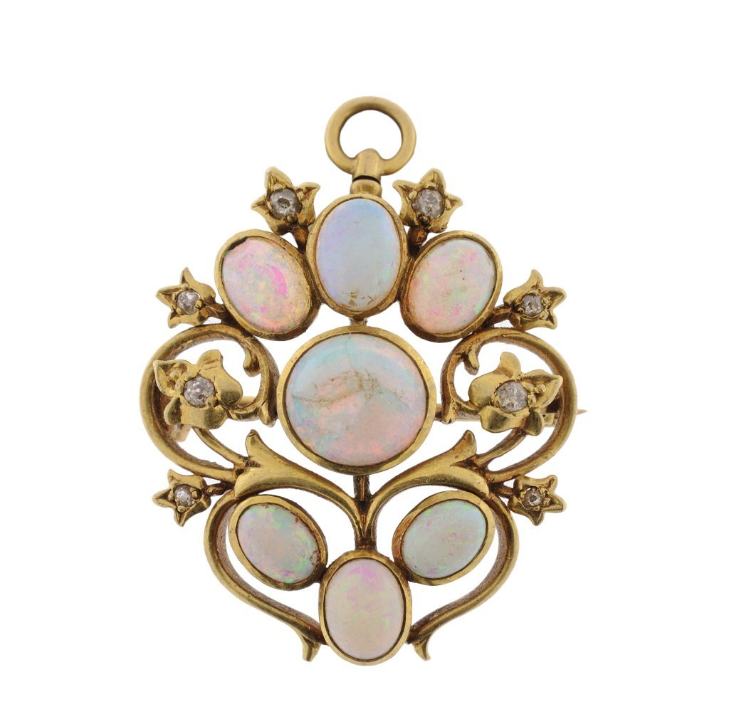 13: ANTIQUE 14KT GOLD OPAL AND DIAMOND PIN DROP