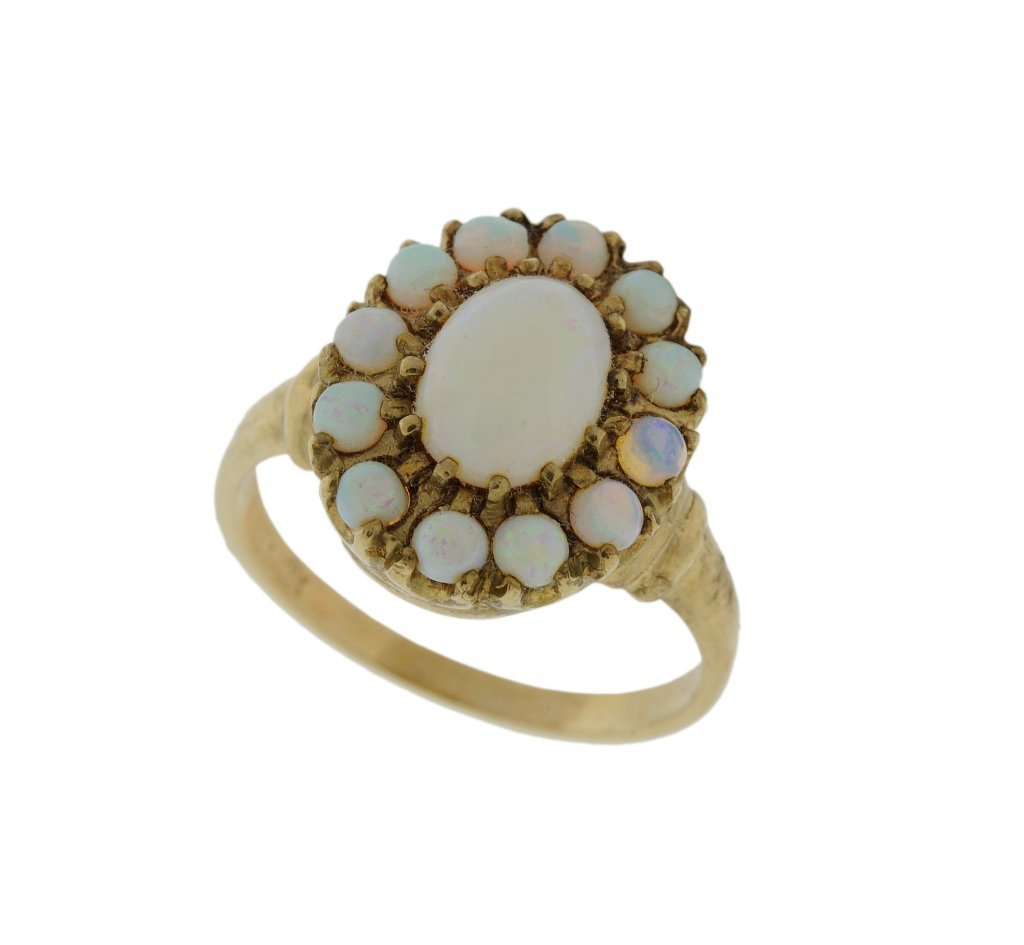 14: ANTIQUE 10KT GOLD OPAL CLUSTER RING