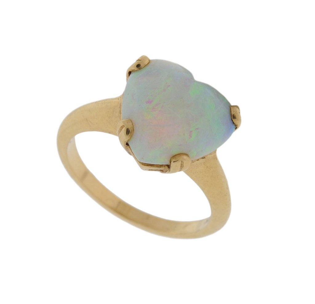 15: ANTIQUE HEART SHAPED OPAL SET IN 14KT GOLD