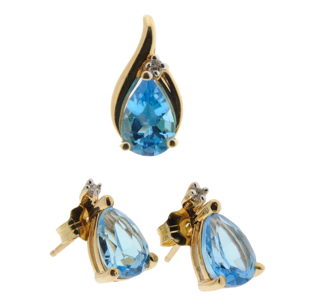 16:14KT GOLD BLUE TOPAZ EARRINGS AND DROP