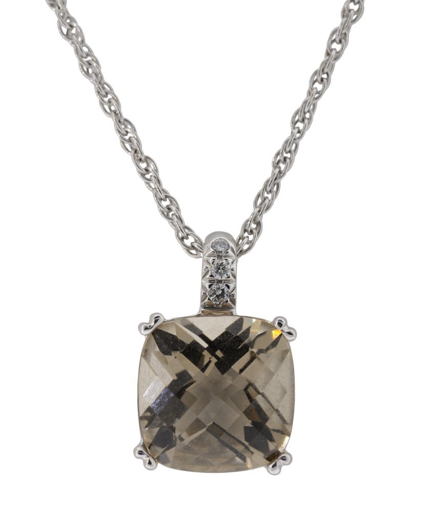 18: 14KT GOLD SMOKEY QUARTZ AND DIAMOND NECKLACE