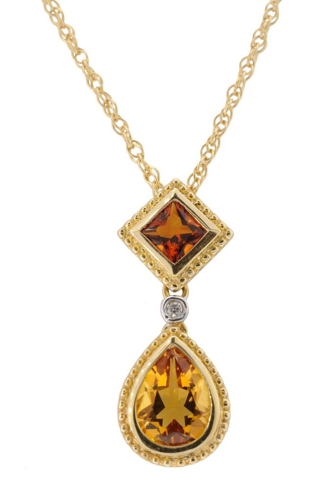 20: 14KT GOLD CITRINE AND DIAMOND NECKLACE