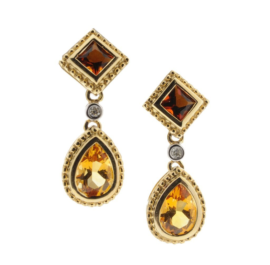 21:14KT GOLD CITRINE AND DIAMOND EARRINGS