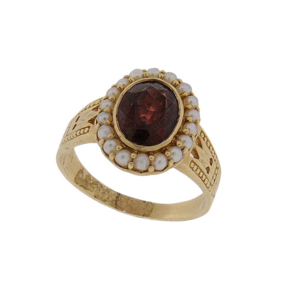 22: 14KT ANTIQUE GOLD SEED PEARL AND GARNET RING