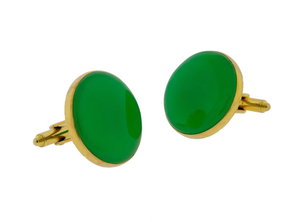 24: 14KT GOLD AND JADEITE CUFF LINKS