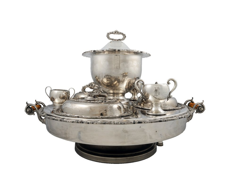 2: AN ENGLISH SILVER PLATED REVOLVING EPERGNE AND MISCE