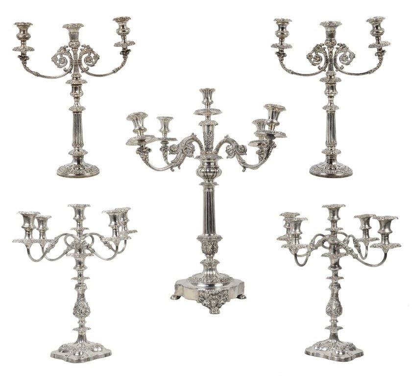 4: A LOT OF FIVE BAROQUE STYLE SILVER PLATED CANDELABRA