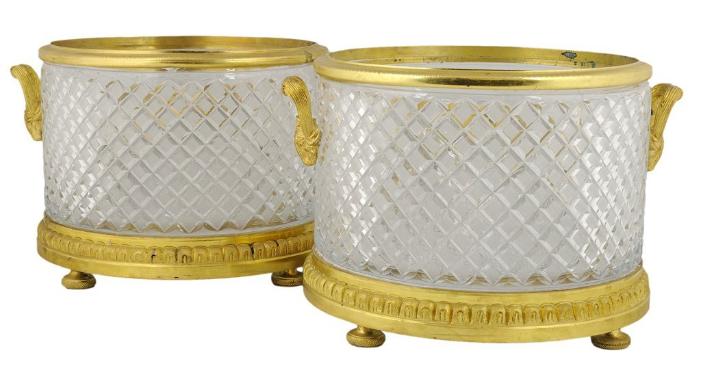 8: A PAIR OF CHARLES X STYLE CUT CRYSTAL AND BRONZE DOR
