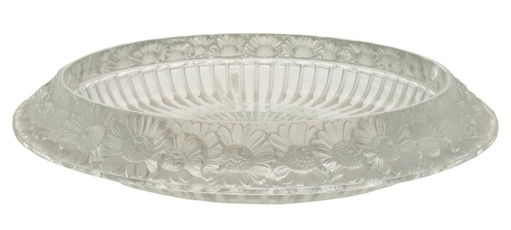 """11: LALIQUE CRYSTAL """"MARGUERITE"""" BOWL WITH FLOWERS Fren"""