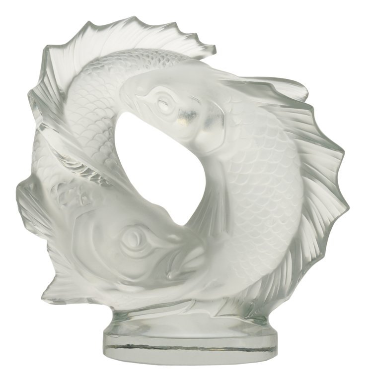 """12: TWO POISSONS """"DOUBLE FISH"""" LALIQUE CRYSTAL France,"""