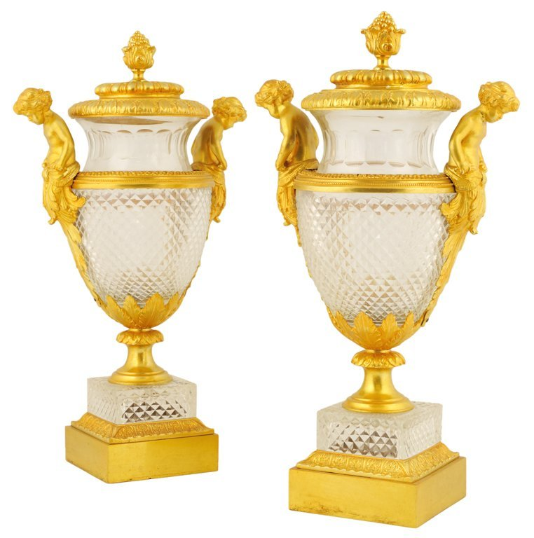 14: A PAIR OF NEOCLASSICAL STYLE CUT CRYSTAL AND BRONZE