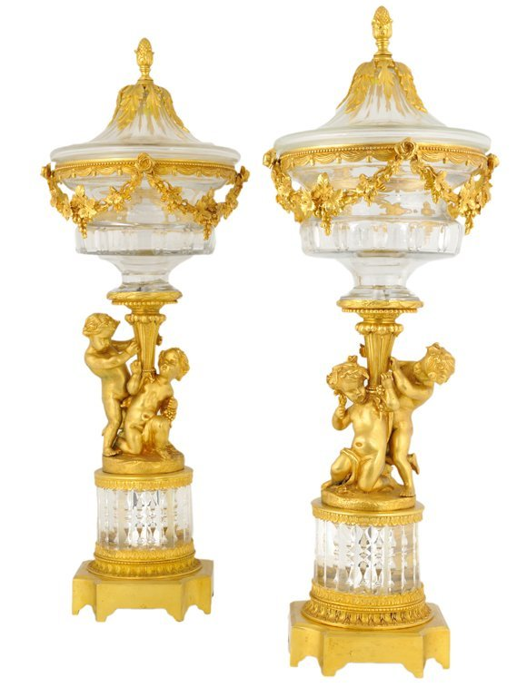 15: A PAIR OF BACCARAT STYLE CRYSTAL AND BRONZE DORE CO
