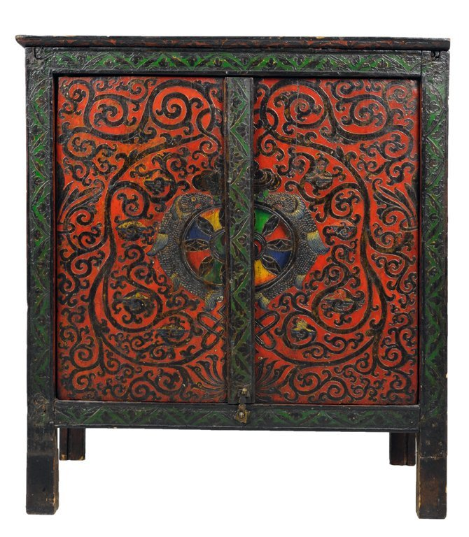 """20: A TIBETAN ANTIQUE """"GOLDEN FISHES"""" MONASTERY CABINET"""