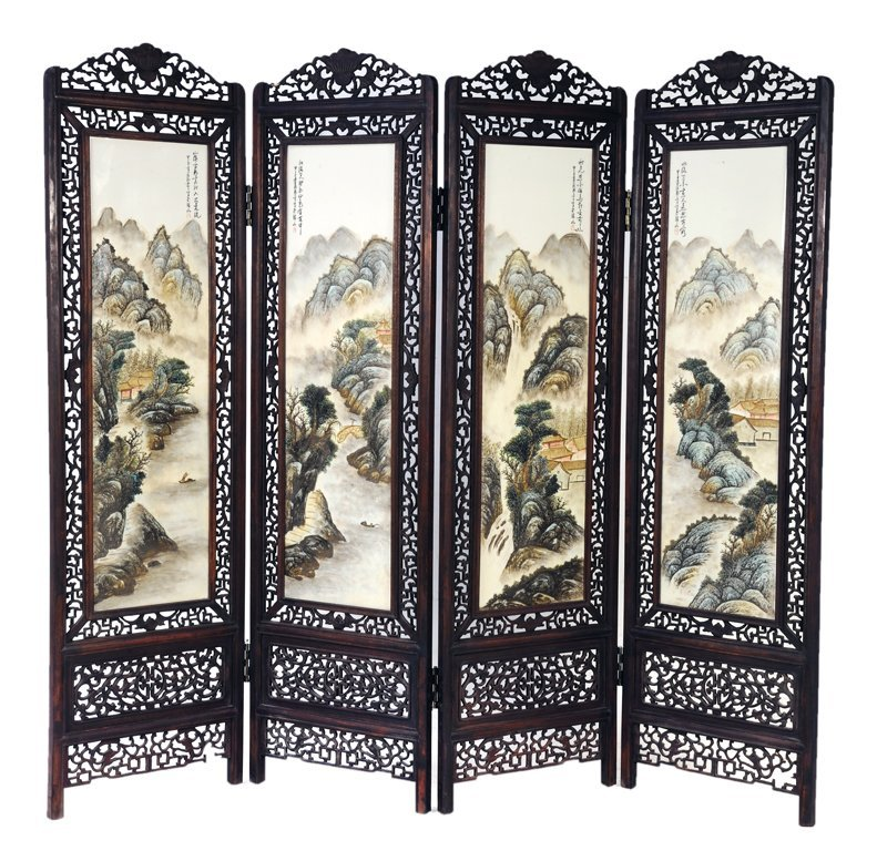 22: AN ANTIQUE CHINESE FOUR PANEL PORCELAIN SCREEN Late